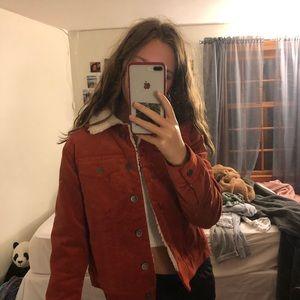 Burnt orange fur lined jacket